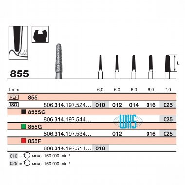 burs dental diamond 46v